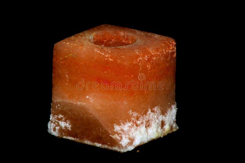 Supporto di candela della roccia del sale fotografie stock