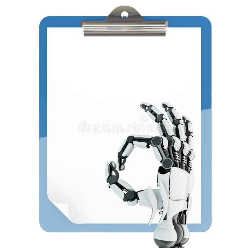 Supporto di carta del cuscinetto e braccio robot immagini stock