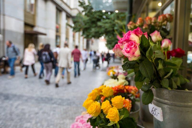 Supporto di fiore nel centro di Praga fotografia stock libera da diritti