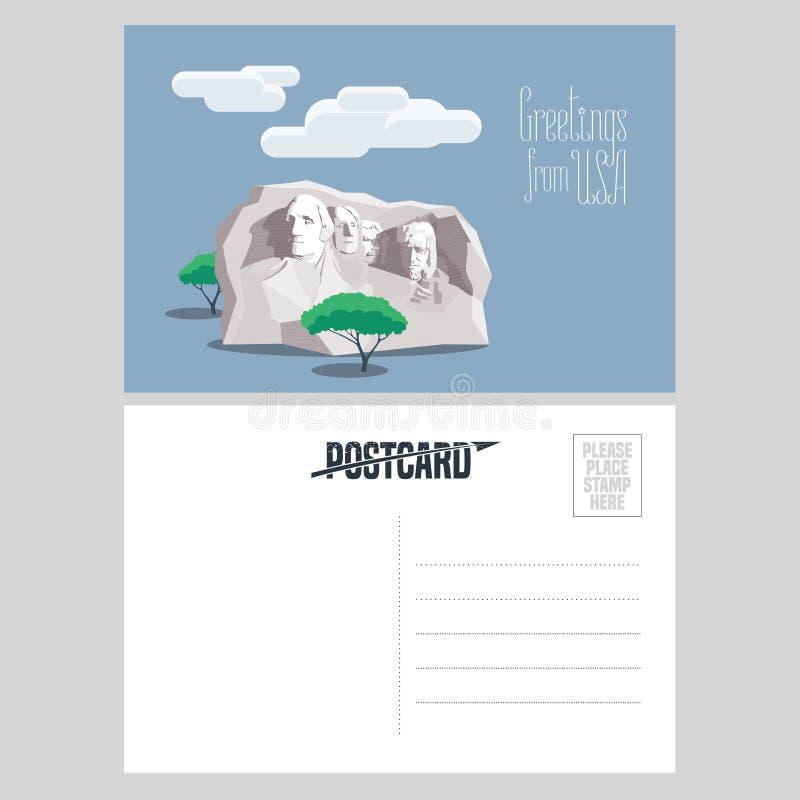 Supporto di Rushmore dell'americano nell'illustrazione di vettore della cartolina del modello illustrazione di stock