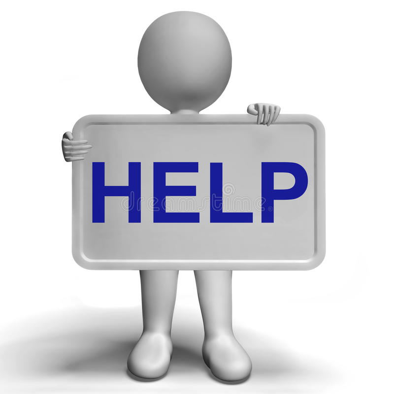 Supporto ed assistenza di consiglio di manifestazioni del bordo del segno di aiuto illustrazione di stock