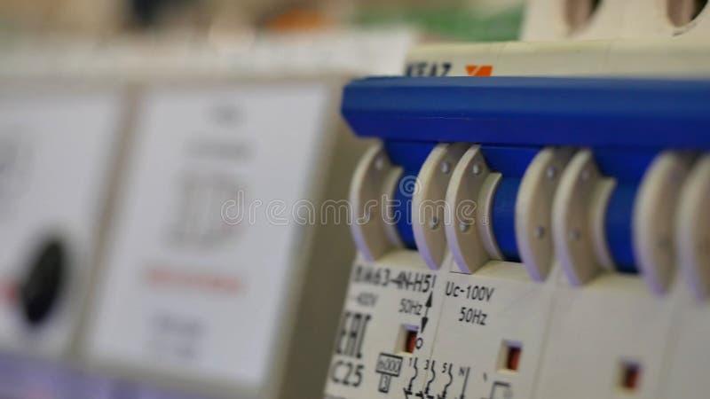 Supporto elettrico Installazione elettrica closeup fotografia stock