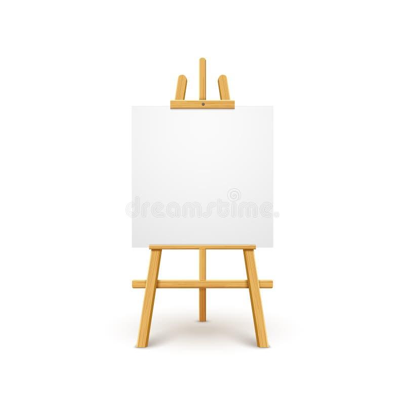 Supporto isolato bordo di legno della tela del cavalletto Tabellone per le affissioni vuoto in bianco del manifesto del cavallett illustrazione di stock