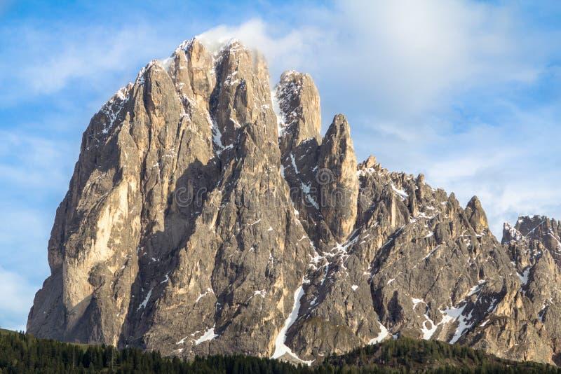 Supporto Langkofel Sassolungo nelle dolomia del Tirolo del sud,  fotografia stock