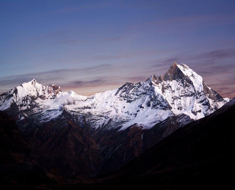 Supporto Machapuchare & x28; Fishtail& x29; , il Nepal Himalaya fotografia stock