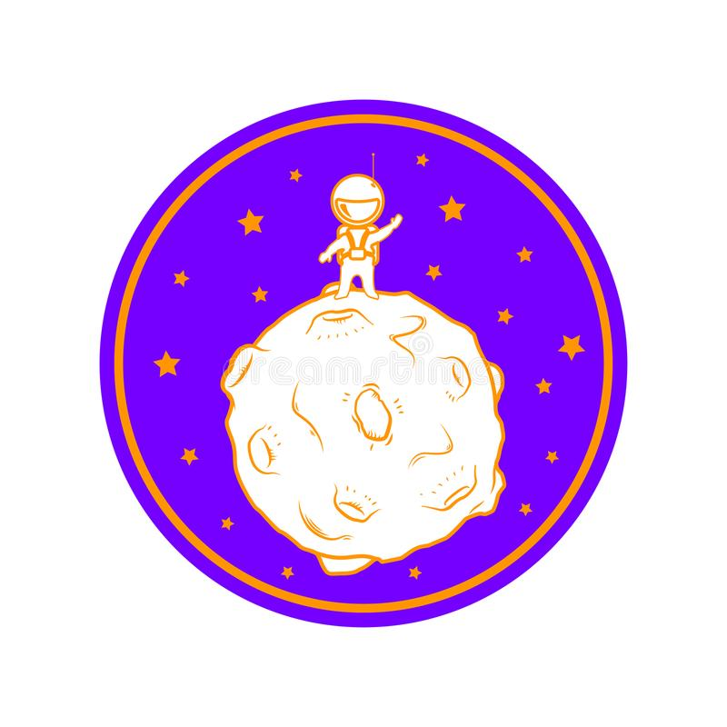 Supporto sveglio dell'astronauta del fumetto sulla luna illustrazione di stock