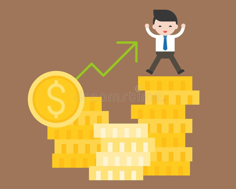 Supporto sveglio dell'uomo di affari sulla pila di moneta di oro, situatio di affari illustrazione di stock