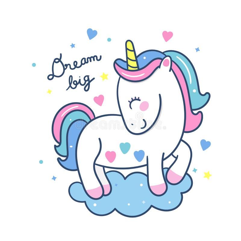 Supporto sveglio di vettore dell'unicorno su colore pastello del fumetto del cavallino della nuvola, fantastico illustrazione di stock