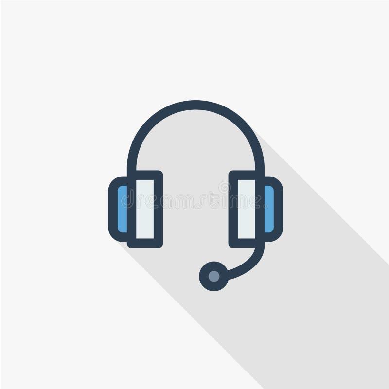 Supporto tecnico, cuffie microfono, linea sottile icona piana dell'operatore di colore Simbolo lineare di vettore Ombra lunga var royalty illustrazione gratis