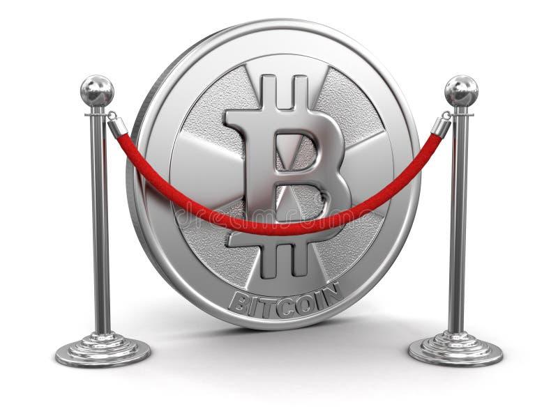 Supports d'or de bitcoin et de chrome avec la corde illustration stock