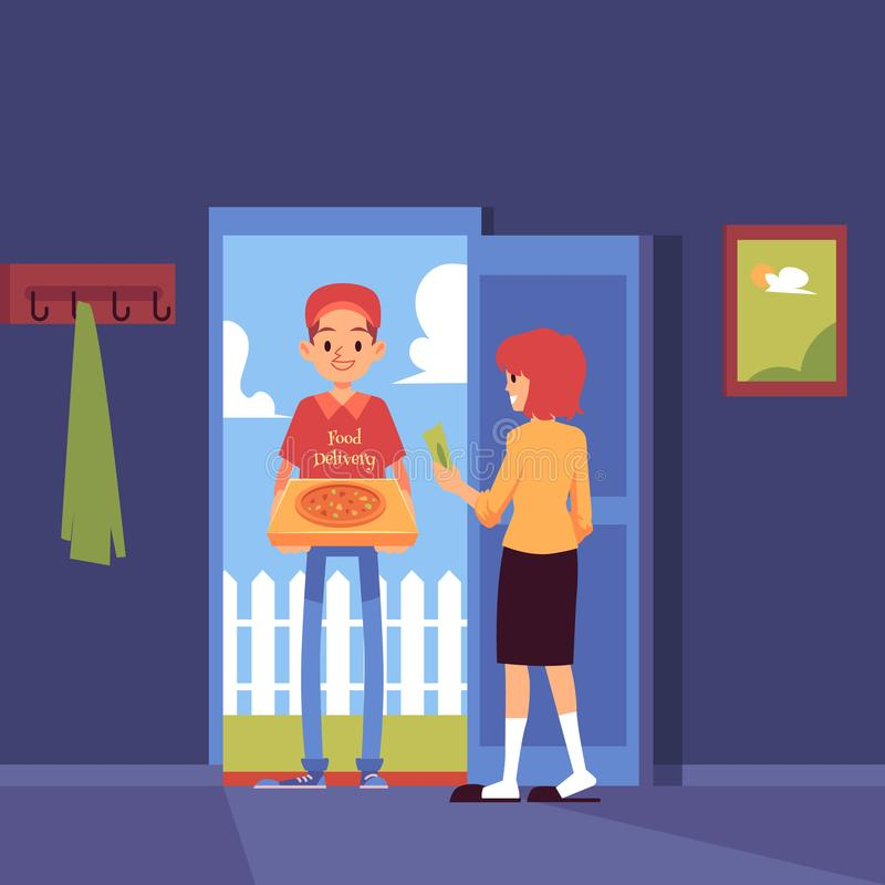 Supports d'homme à la porte et à livrer la boîte à pizza au style de bande dessinée de maison de client illustration de vecteur