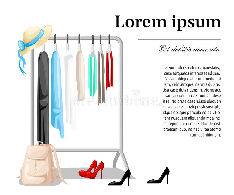 Supports de cintre avec des vêtements sur des cintres Concept moderne d'illustration de style plat de conception illustration libre de droits