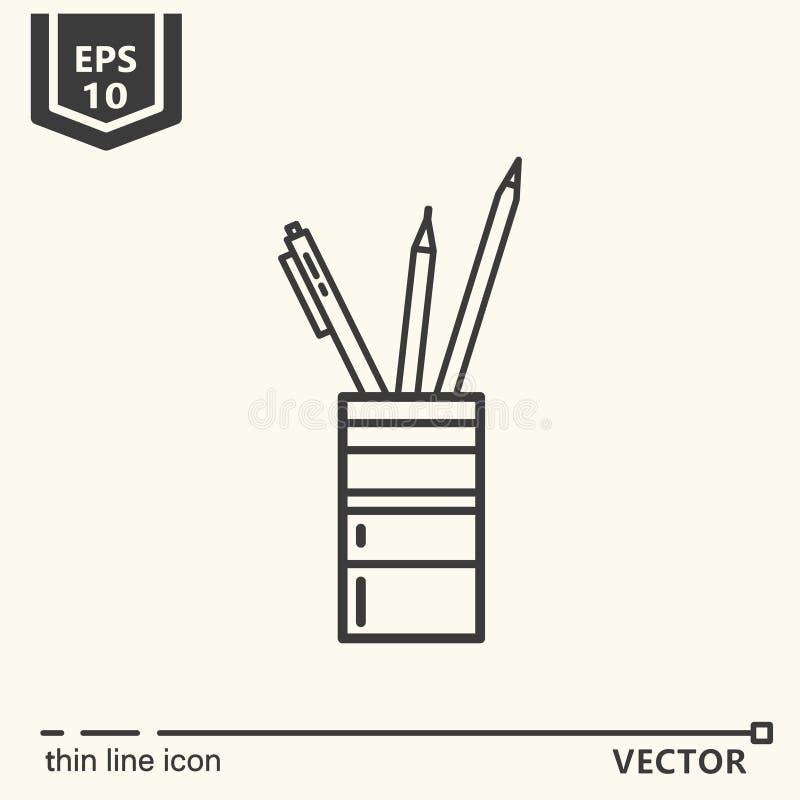 Supports de crayon Une icône - série de fournitures de bureau illustration stock