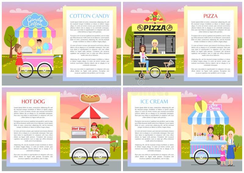 Supports de hot-dog de pizza de sucrerie de coton et de crème glacée  illustration de vecteur