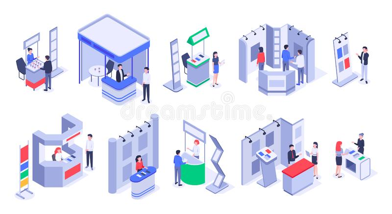 Supports isométriques de vente Support de démonstration d'expo, stalles du commerce d'exposition de produit et ensemble de vecteu illustration libre de droits