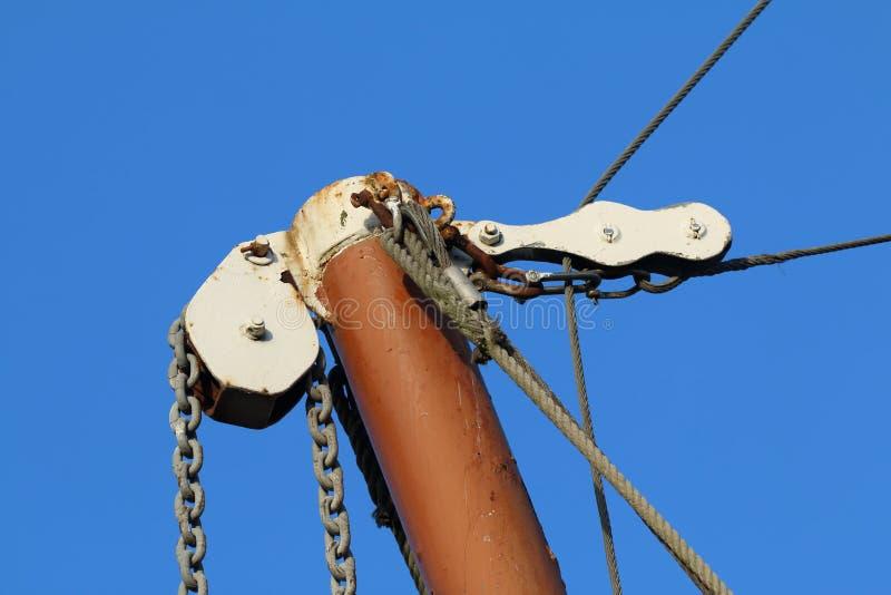 Supra o equipamento de Mizzen do crescimento de uma barca da navigação de Tamisa imagem de stock royalty free