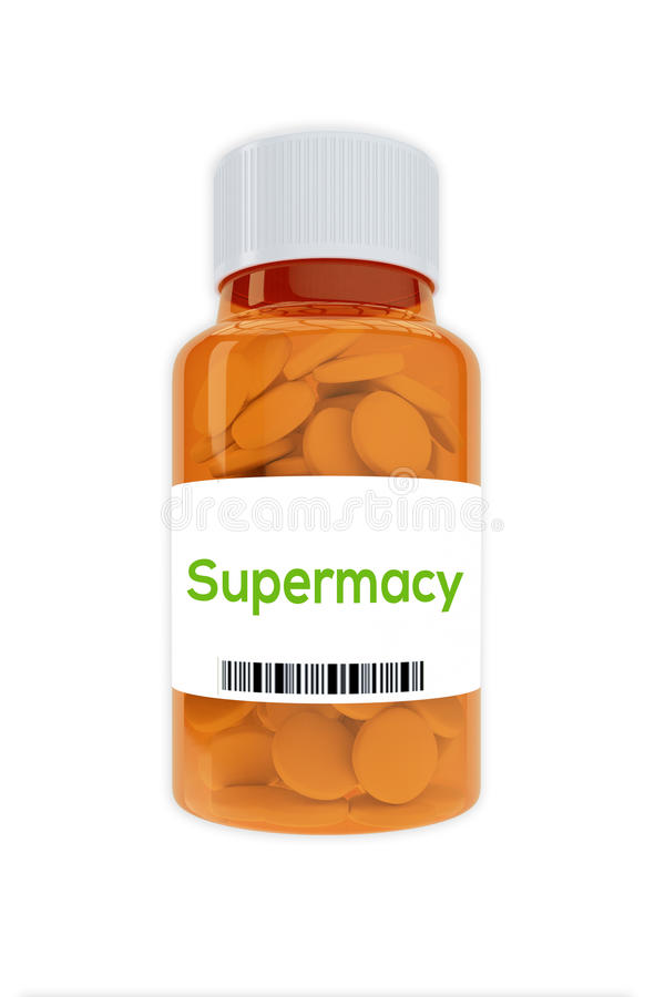 Supremacy concept. Render illustration of Supremacy Title on pill bottle, isolated on white stock photos