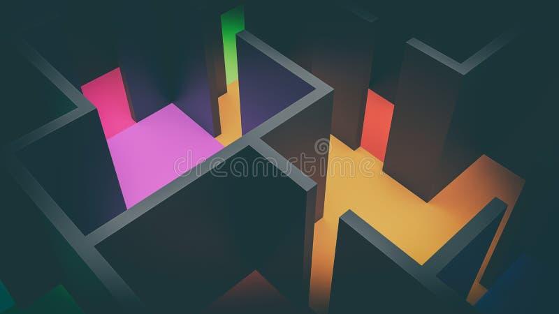 Suprematism构成主义3d例证顶视图 向量例证