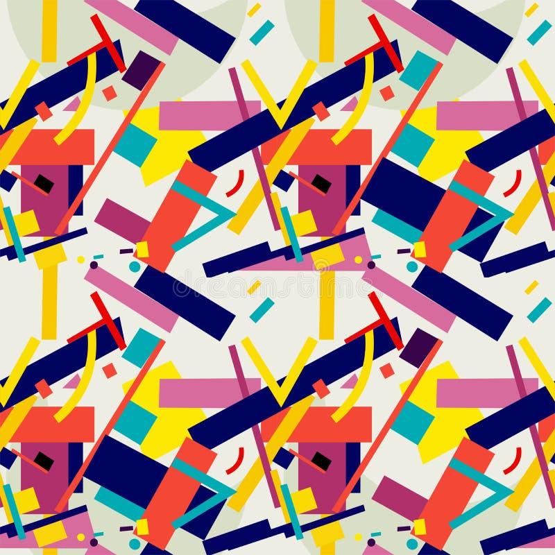 Suprematism naadloos patroon een samenstelling van geometrische cijfers stock illustratie