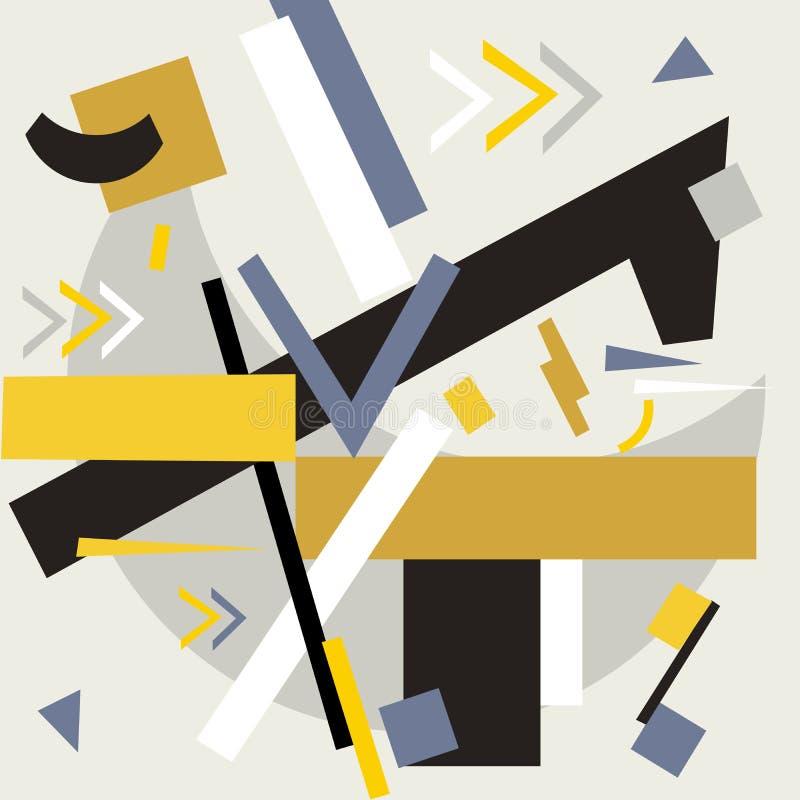 Suprematistsamenstelling Suprematism, een samenstelling van geometrische cijfers vector illustratie