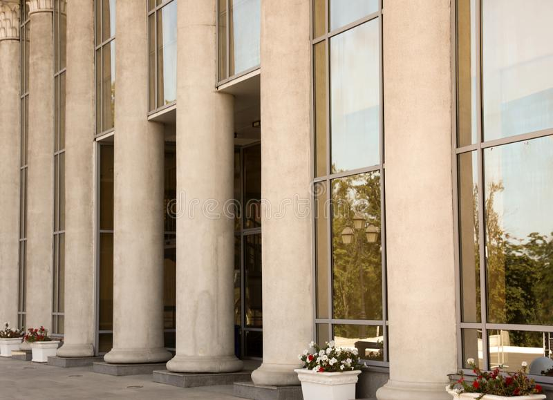 Supreme court building with pillars. Law and justice royalty free stock photography