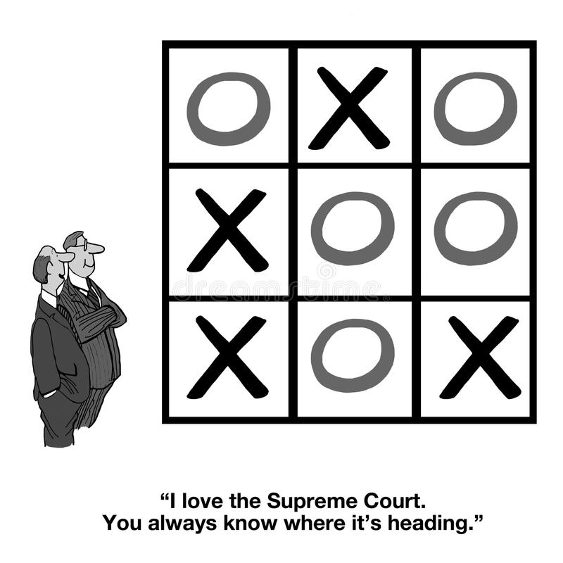 Supreme Court. Cartoon about the Supreme Court being tied in its decisions royalty free illustration