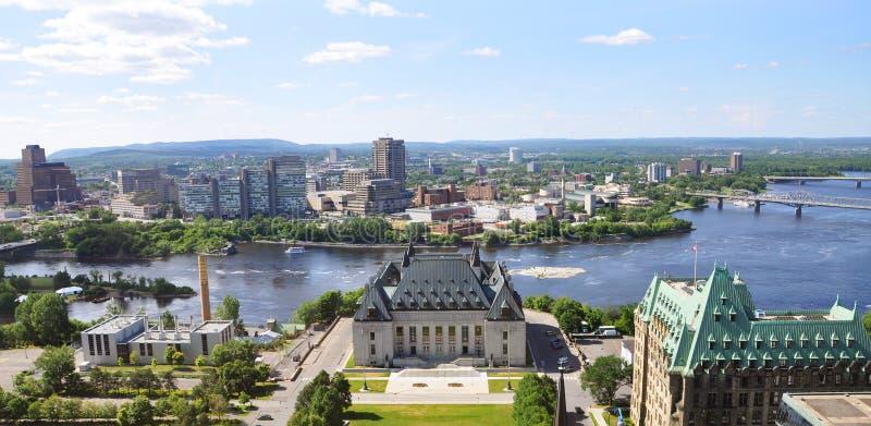 Supreme Court and Gatineau, Ottawa, Canada. Aerial view of Supreme Court of Canada and Gatineau Skyline, Ottawa, Canada royalty free stock photo