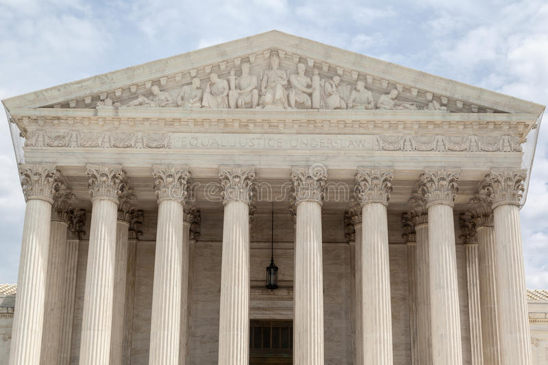 Supreme Court of the United States. The facade of the Supreme court of the United states in the format of a greek temple with corinthian columns. Washington stock images