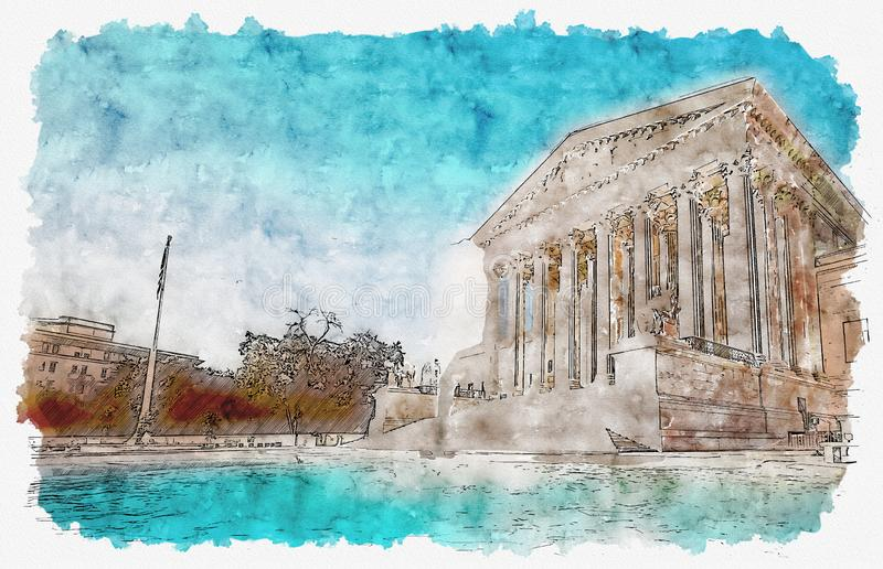 The Supreme Court of the United States. In Washington DC watercolor painting stock illustration