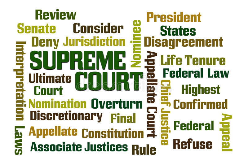 Supreme Court. Word cloud on white background stock illustration
