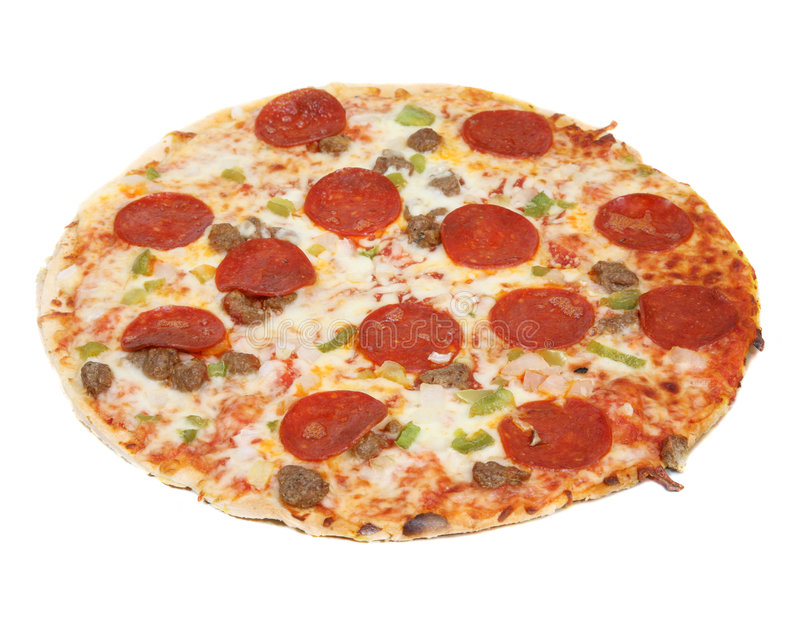 Supreme pizza. On a white background royalty free stock photography