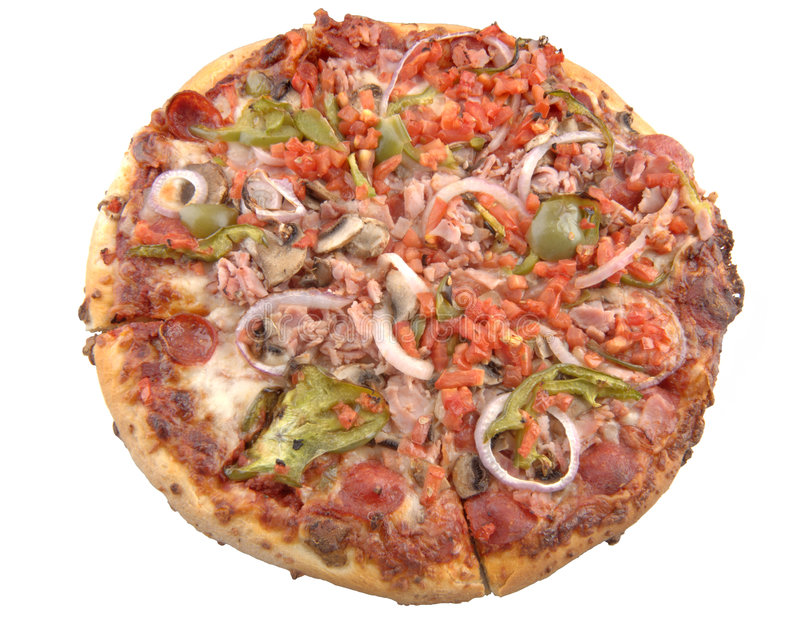 Supreme Pizza, isolated. A high resolution isolated 12 inch supreme pizza. 12 MP camera stock images