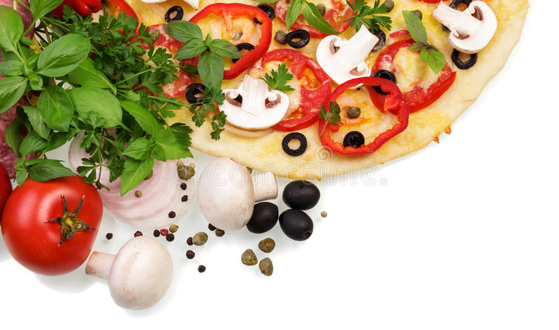 Supreme Pizza with vegetables. Tasty Supreme Pizza with vegetables isolated on white background stock images