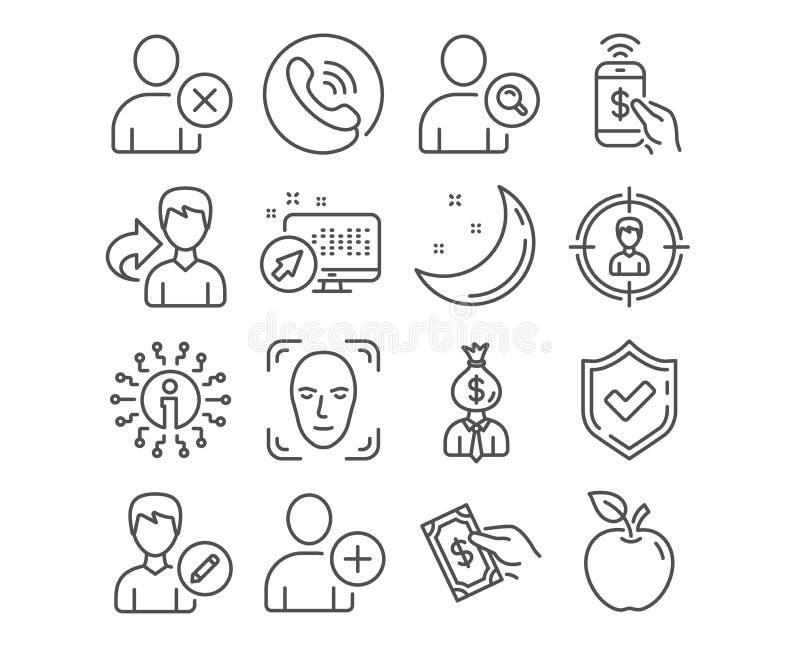 Suprima al usuario, añada los iconos del usuario y del pago del teléfono Corrija la persona, las muestras el buscar y del encarga ilustración del vector