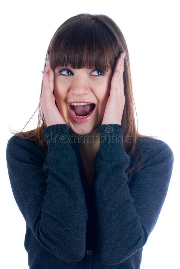 Download Suprise woman stock photo. Image of excited, lady, isolated - 12408916