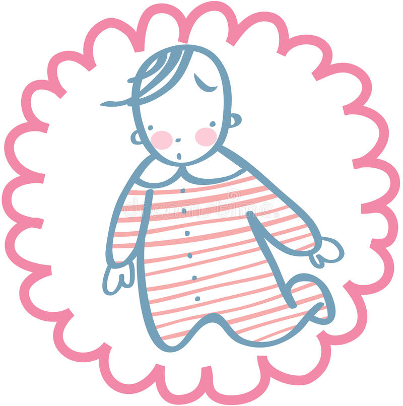 Suprised baby in rompers. Illustration of cute baby with suprised expression, decorative cirle vignette stock illustration