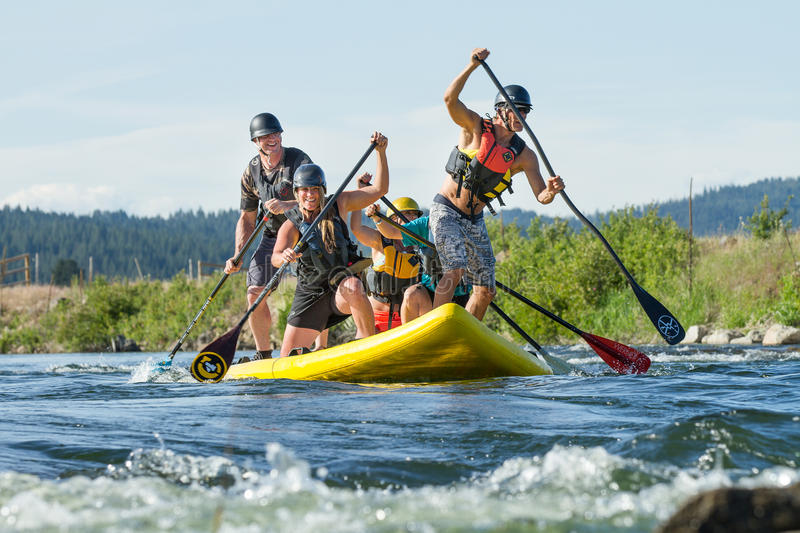 Supsquatch going down the river royalty free stock images