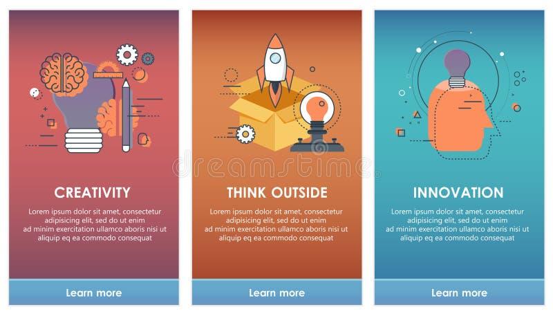Sur des écrans d'embarquement pour le concept mobile de calibres d'APP La créativité, pensent dehors, innovation illustration stock