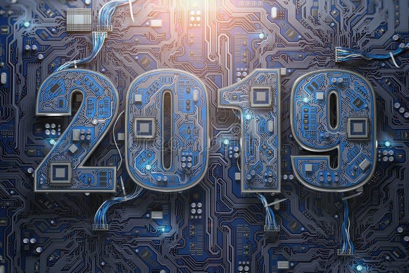 2019 sur la carte ou la carte mère avec l'unité centrale de traitement Technolo d'ordinateur illustration libre de droits