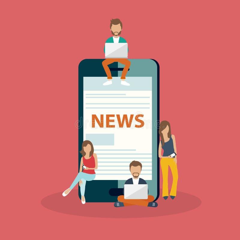 Sur la ligne concept d'actualités Lisez le journal à votre téléphone intelligent Les jeunes hommes et les femmes sont grand télép illustration stock