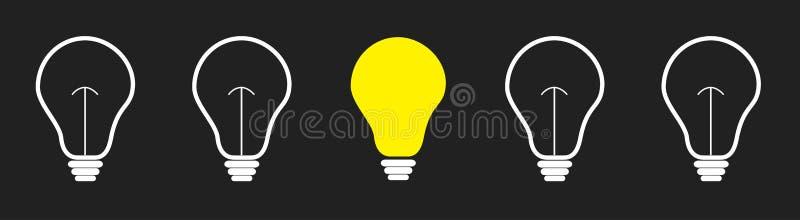 Sur la ligne d'ensemble d'icône d'ampoule  Concept d'id?e d'affaires Couleur jaune Fond dr?le Conception plate illustration de vecteur