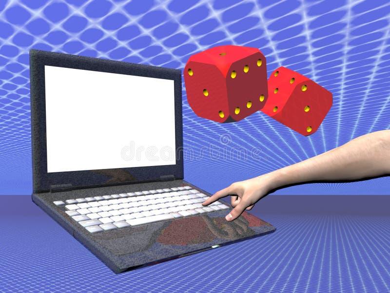 Sur la ligne ordinateur portatif de jeu illustration stock