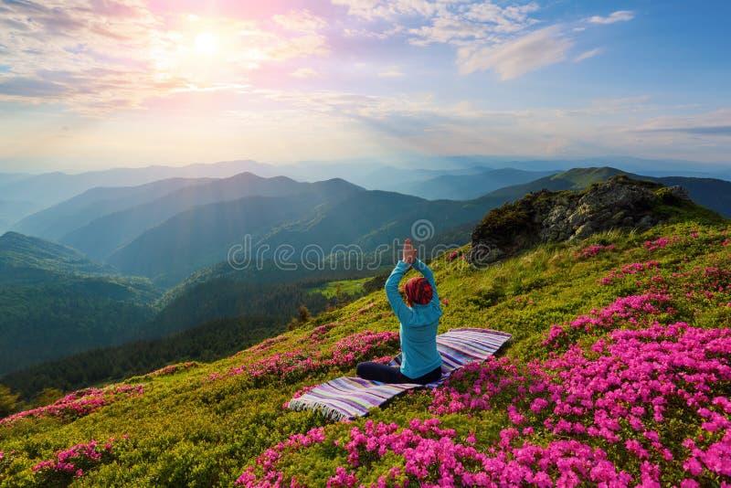 Sur la pelouse en rhododendrons la fille s'assied dans la posture de lotus photos libres de droits