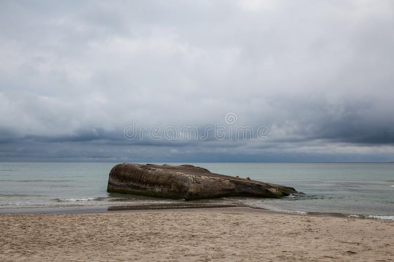 Sur la plage dans Skagen après forte pluie, le Danemark images libres de droits