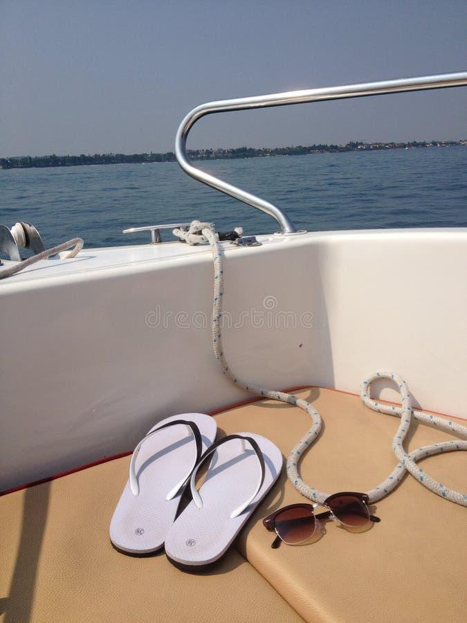 Sur le bateau image libre de droits