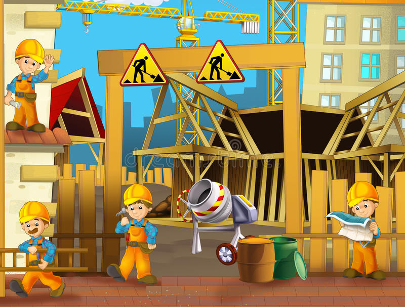 Sur le chantier de construction - illustration pour les enfants illustration stock