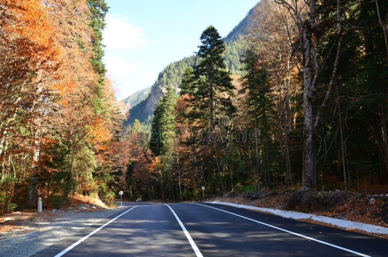 Sur le chemin aux montagnes du Caucase Soirée d'automne photo libre de droits