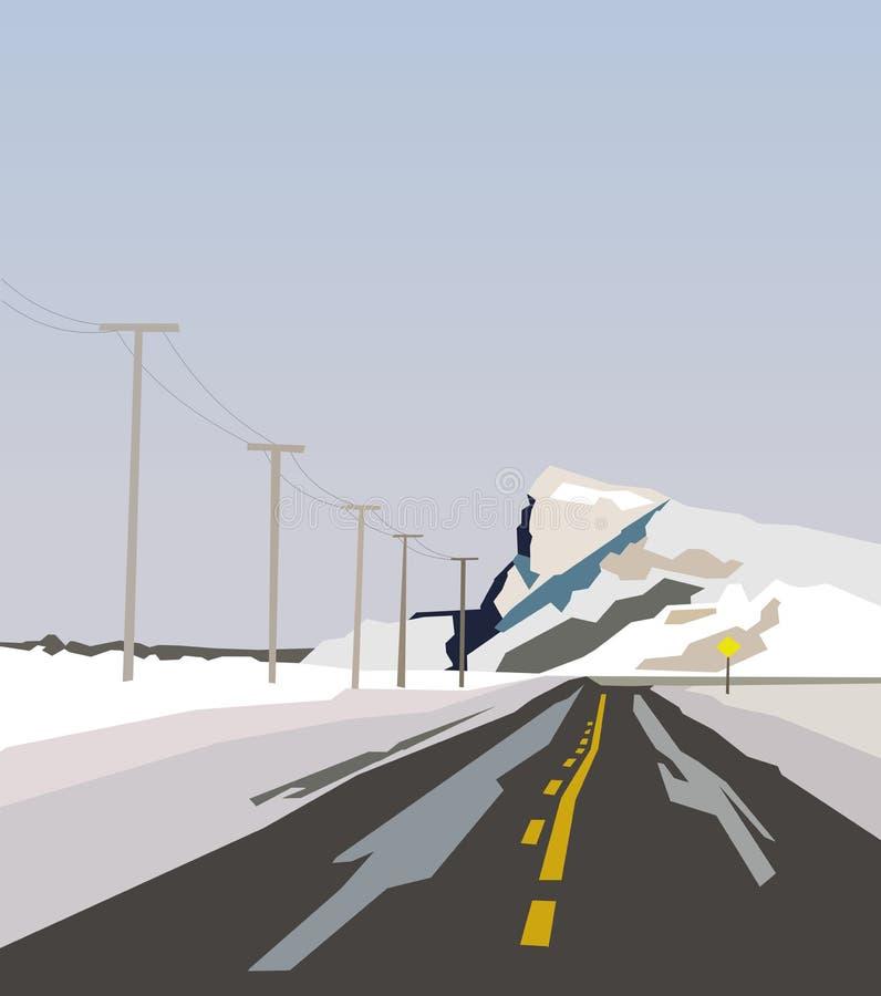 Sur le chemin aux montagnes neigeuses Paysage abstrait dans le style d'art de minimalisme avec la route droite aux montagnes d'hi illustration stock