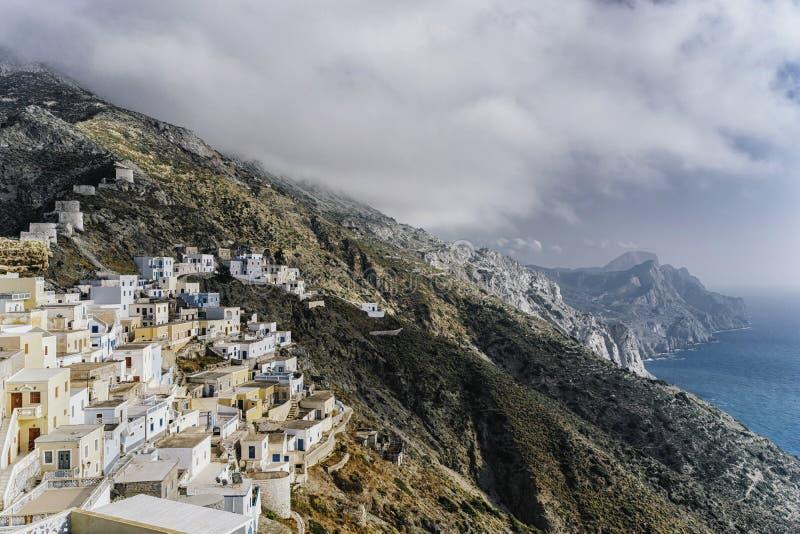 Sur le dessus du village d'Olympos photo libre de droits
