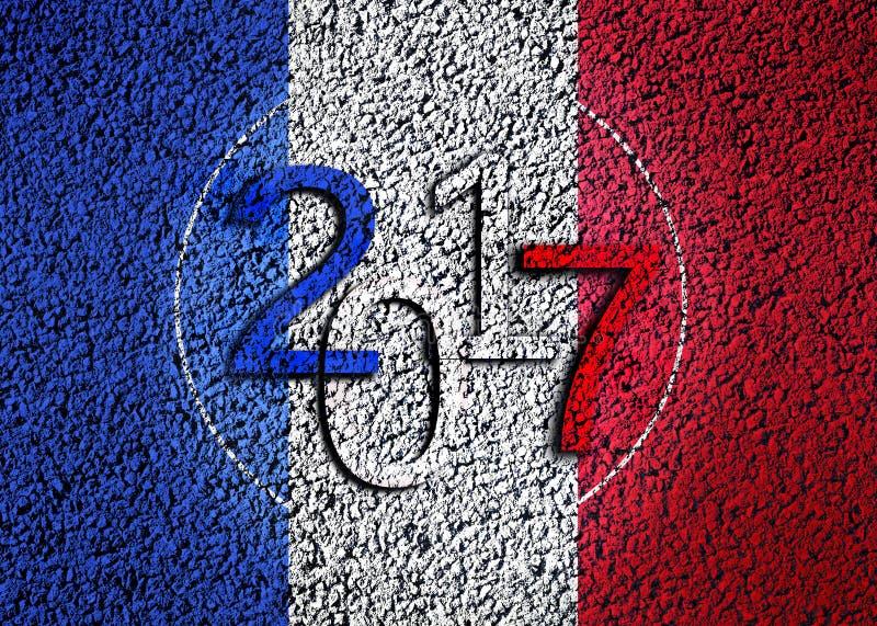2017 sur le drapeau français images stock